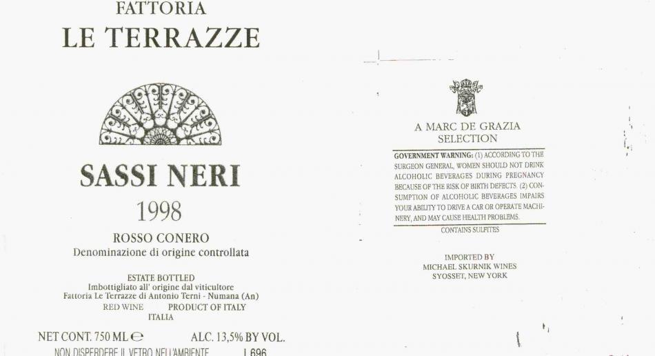 """Conero Riserva DOCG """"Sassi Neri"""" 2014 - Fattoria Le Terrazze"""